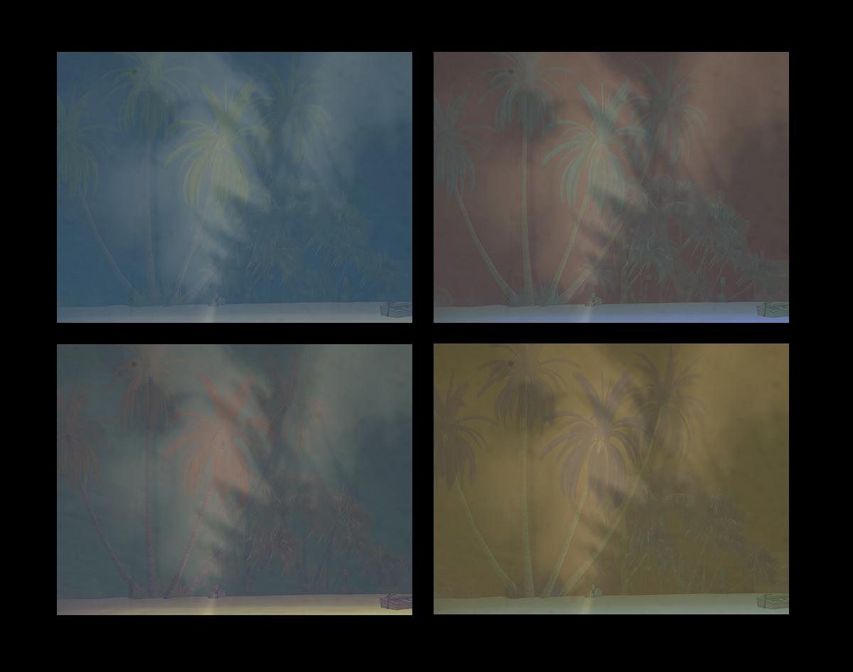 An Andy Warhol erinnerndes Fotoquartett mit Palmen in unterschiedlicher Kolorierung aufgenommen in Second Life und mit Schatten aus der Realität überlagert