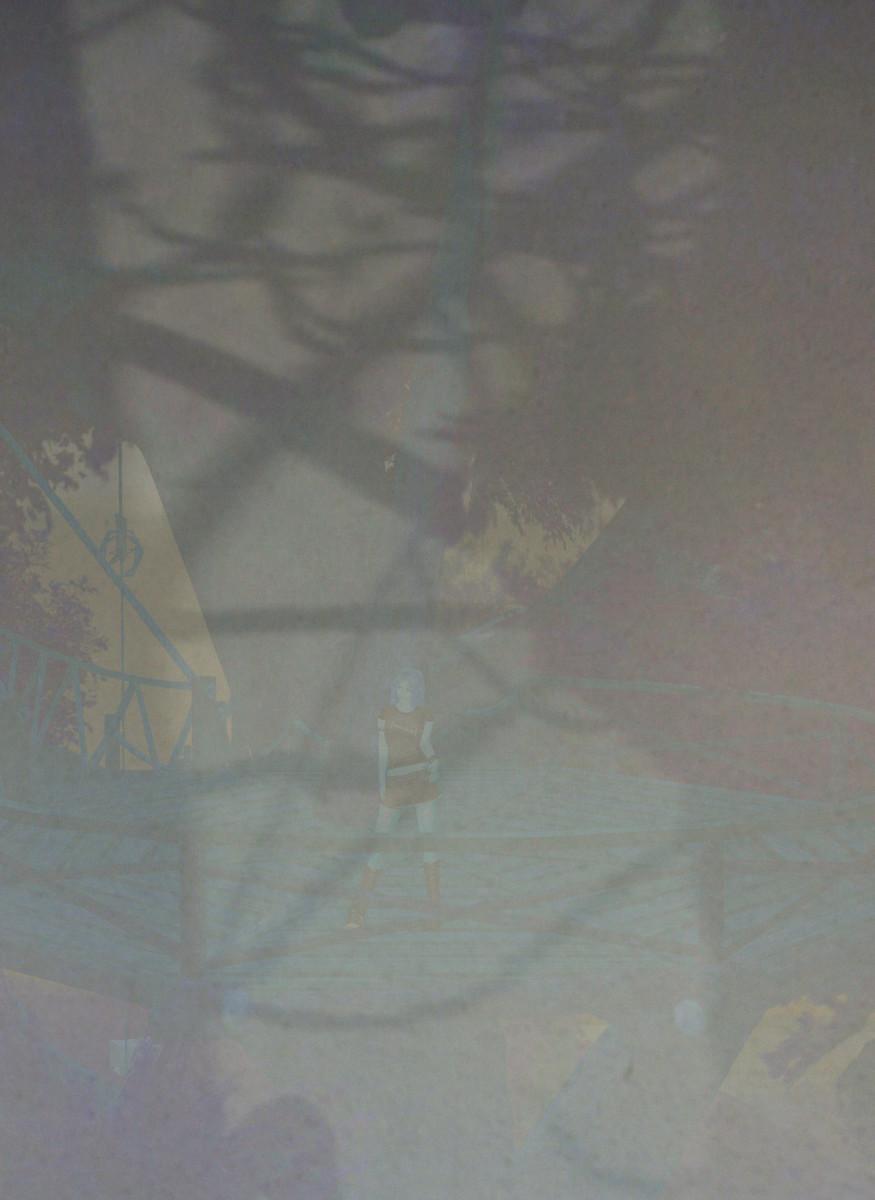 Mixed Realities - überlagerte Fotos von Baumschatten und virtueller Szene in Second Life mit Avatar im Baum