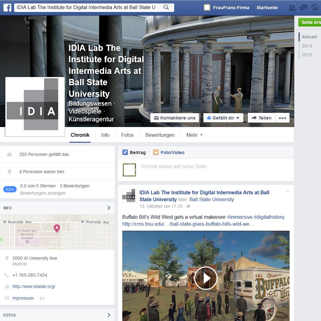 Facebook Seite des IDIA LAb, Ballstate University Indiana